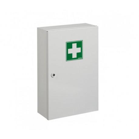Armoire à pharmacie acier poudré 1 porte. Serrure à clé. Dimensions 310*450*525mm. Poids 2,68kg.
